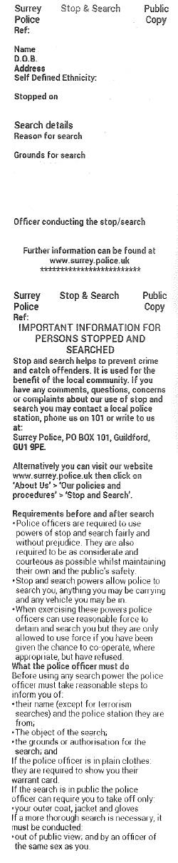 Stop&SearchRECIEPT