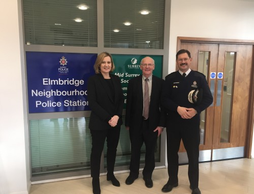 Home Secretary pays visit to Surrey to talk local policing