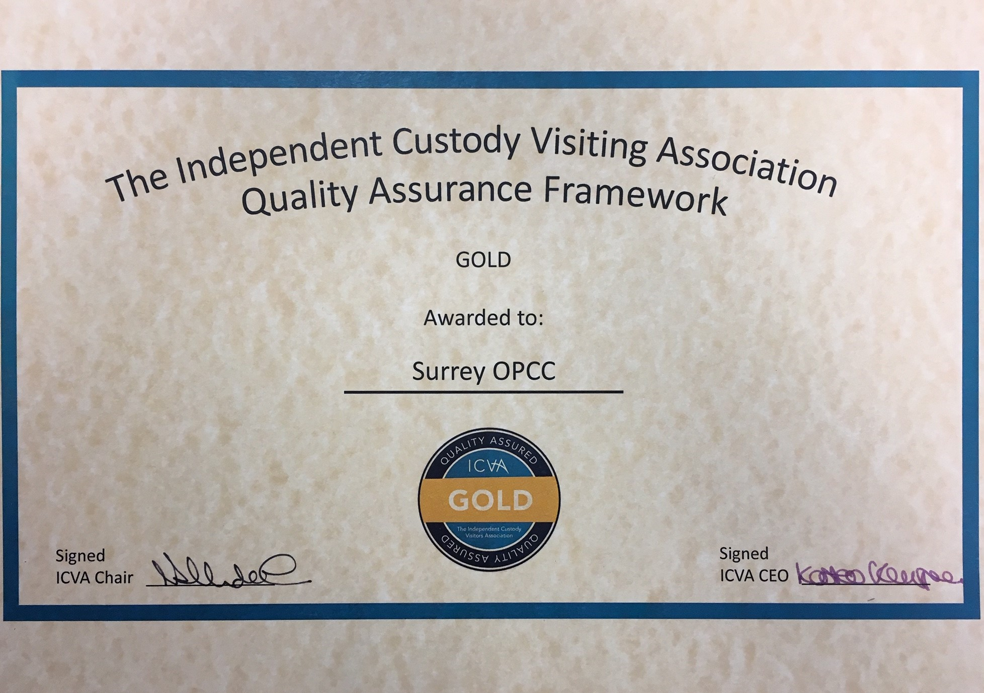 Office of the Police and Crime Commissioner for Surrey wins prestigious national award for custody visiting