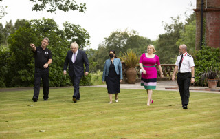 PCC Lisa Townsend walking with Prime Minister Boris Johnson, Home Secretary Priti Patel and