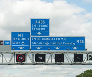 London motorway signage